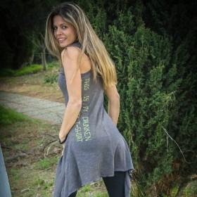 Γκρι Μπλούζα-Φόρεμα με Κουκούλα