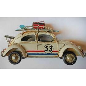 Μπεζ Μεταλλικό Vintage Αυτοκίνητο Με Βαλίτσες