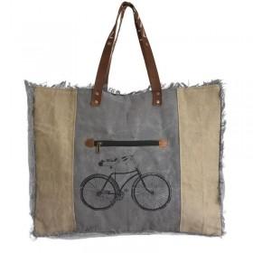 """Γκρι - Καφέ Γυναικεία Τσάντα Ώμου """"bike"""""""