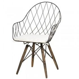 Καρέκλα με μαξιλάρι Rusty Me, Μεταλλική / Ξύλινη
