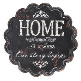 """Μαύρη Μεταλλική Πινακίδα """"Home"""""""