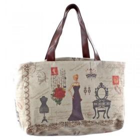 Vintage Υφασμάτινη Τσάντα με Γυναικεία Φιγούρα