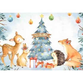 Προσκλητήριο με Ζώα του Δάσους και Χριστουγεννιάτικο Δέντρο Νο2