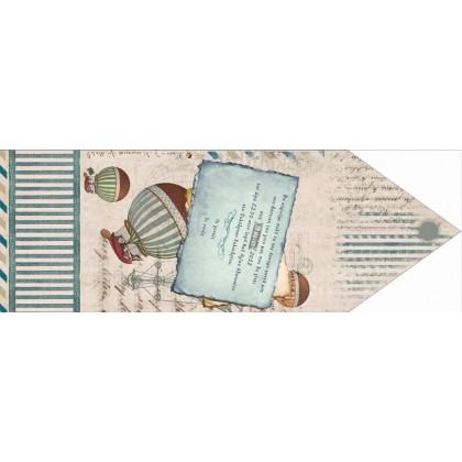 Τρίπτυχο Vintage Προσκλητήριο-Φάκελος με Αερόστατα
